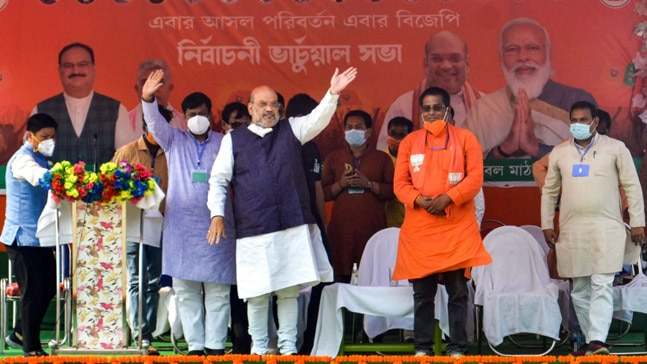 Union Home Minister Amit Shah in West Bengal on April 22. Photo: PTI