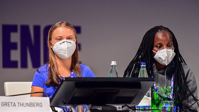 Greta Thunberg and Vanessa Nakate at the Youth4Climate summit. Photo: Getty images