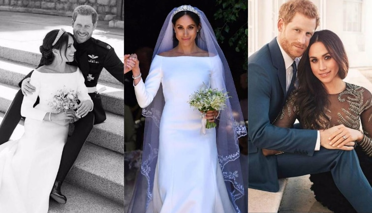 f201ca392 Meghan Markle's Veil Had 'Something Blue' Hidden In It From Her First Date  With Harry