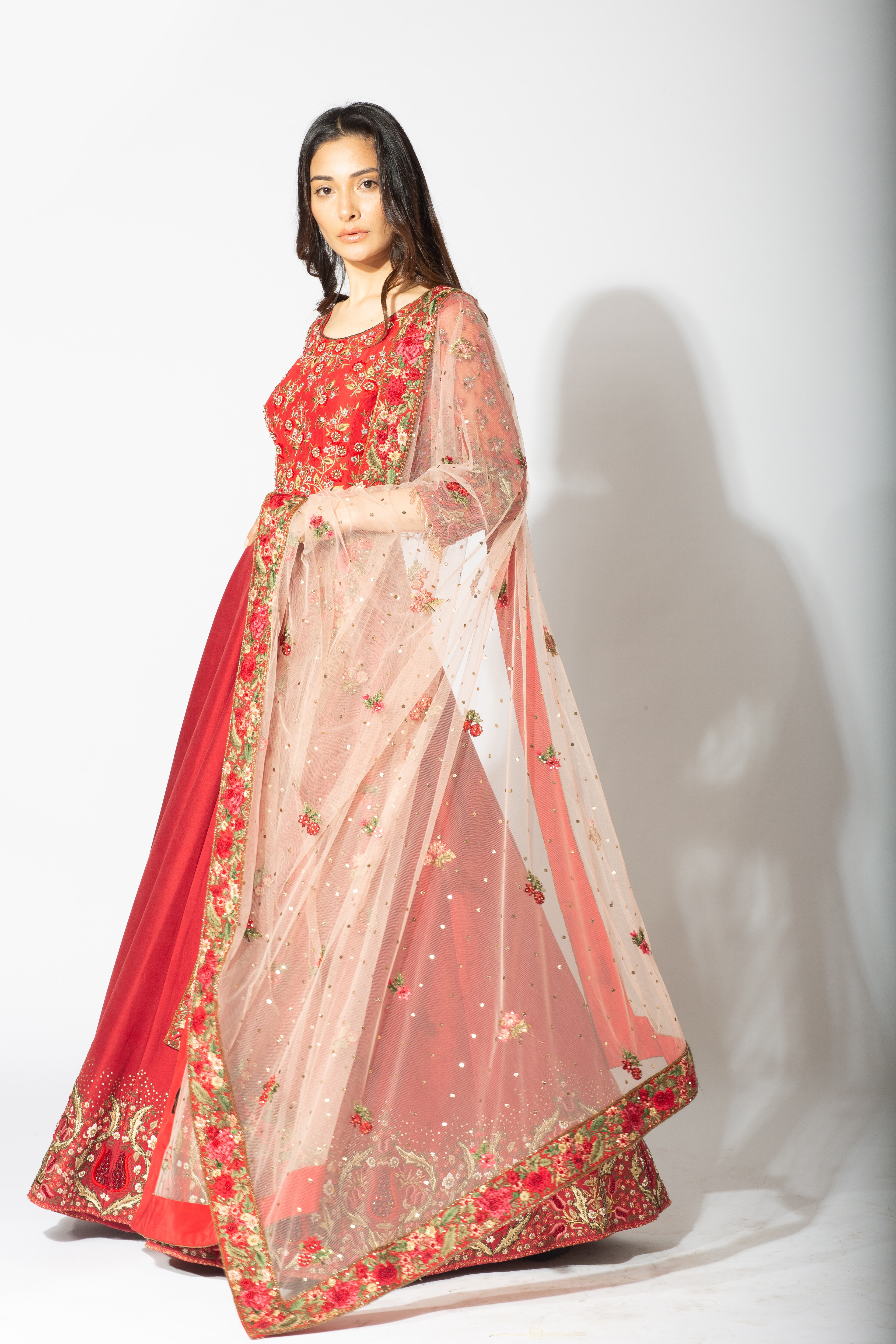 Red Anarkali with Ivory Dupatta