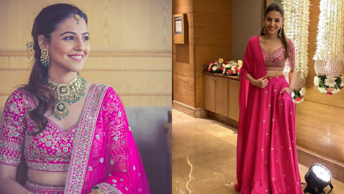 Benaisha Kharas Dongre at her wedding vs. at a friend's wedding
