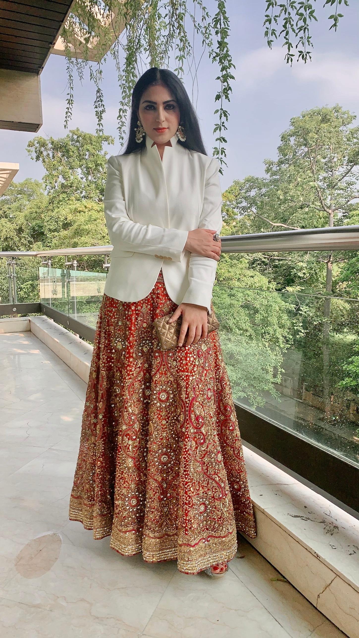 Surbhi, a Neeta Lulla Bride has re-styled her bridal lehenga