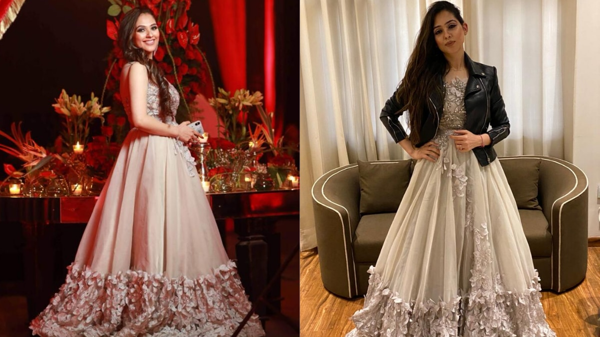 Swati, a Neeta Lulla bride has layered her cocktail gown with a jacket