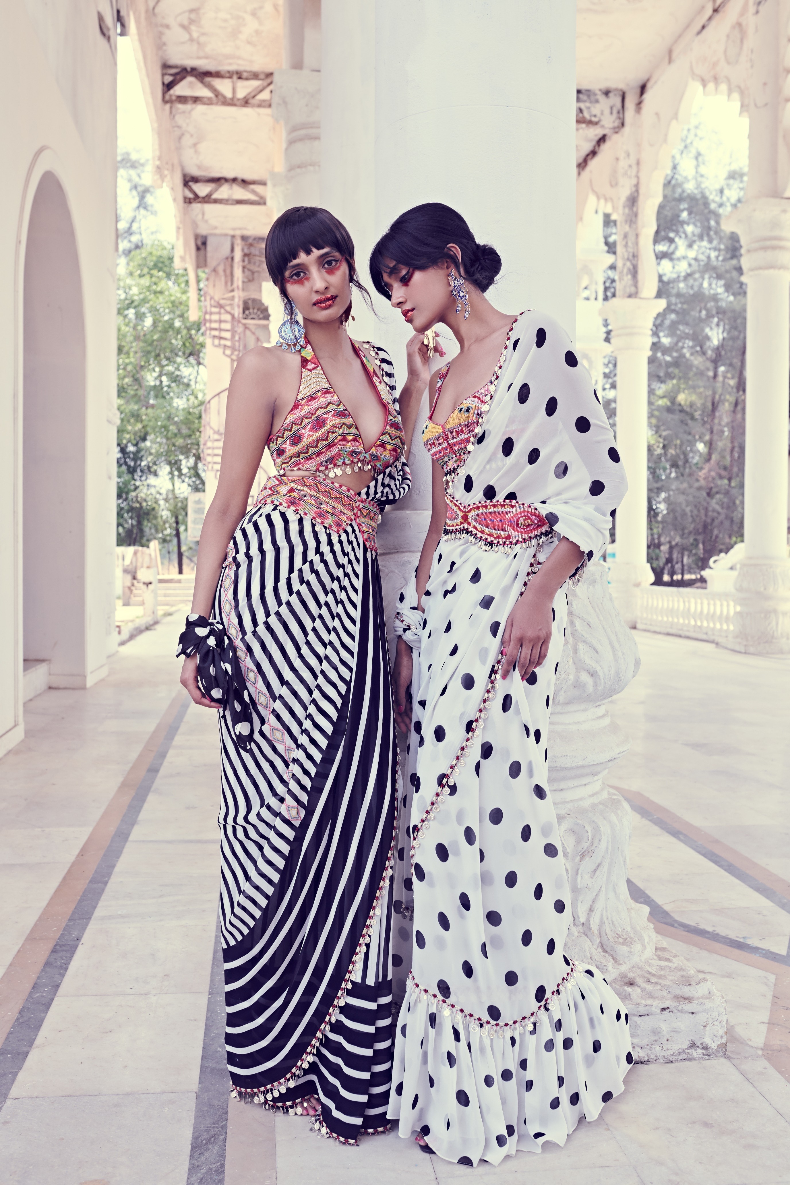 Polka and stripe sarees with beautifully embellished bohemian blouses and belts