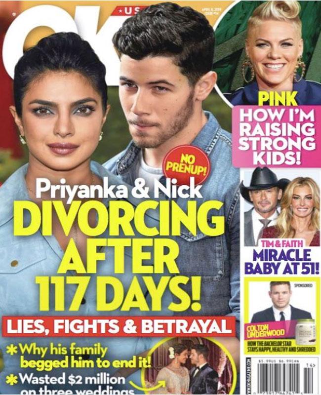 OK मैग्जीन का कवर फोटो जिसमें प्रियंका और निक को लेकर कवर पेज डिजाइन किया गया है.