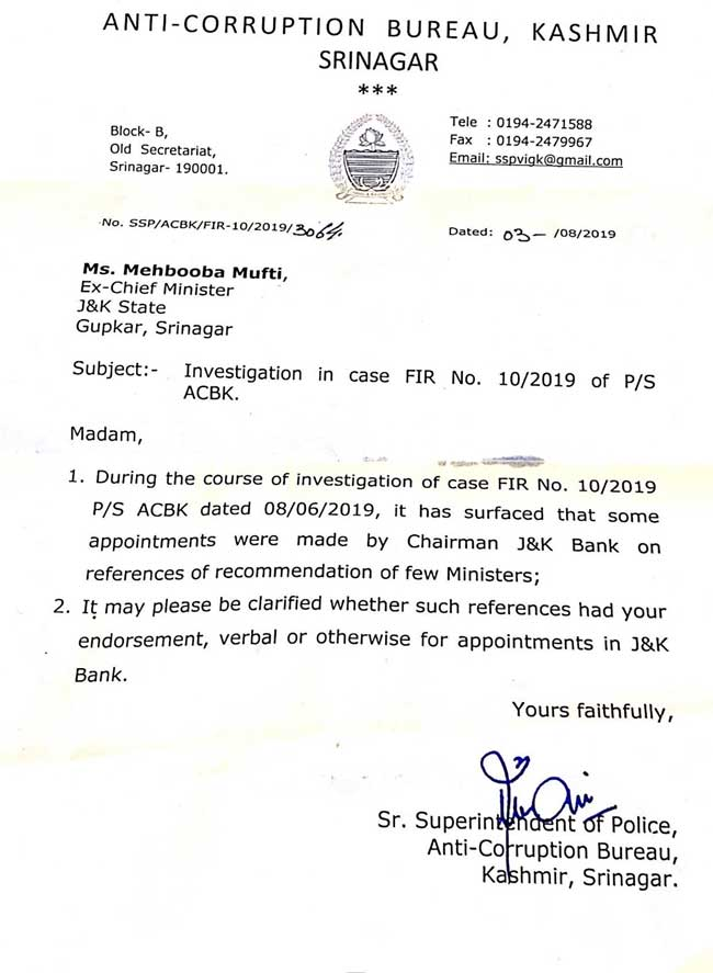 acb letter to mehbooba mufti