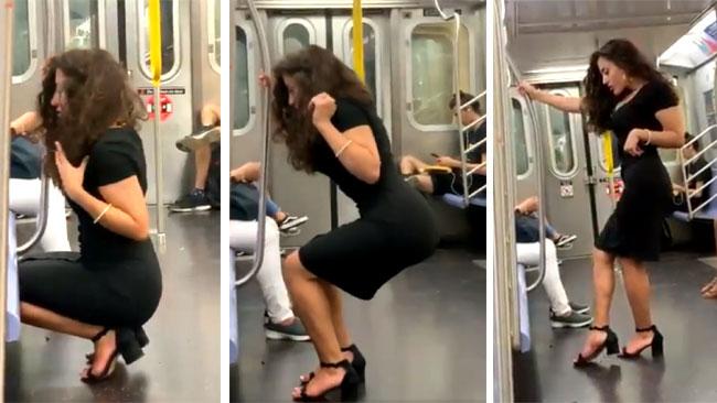 woman taking perfect selfie in train