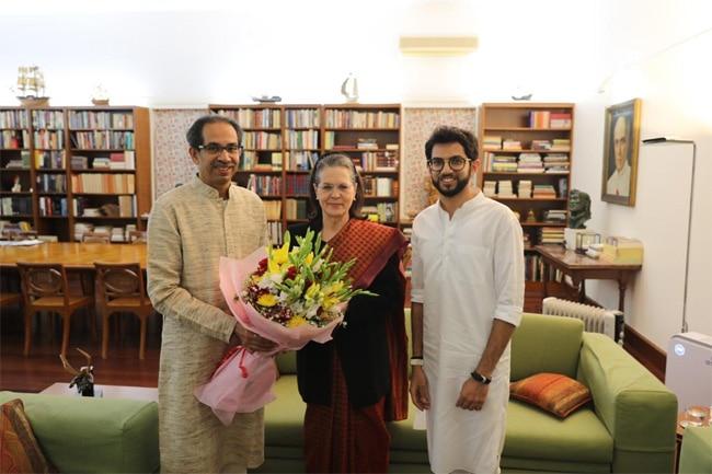 uddav, aditya thackeray and sonia gandhi