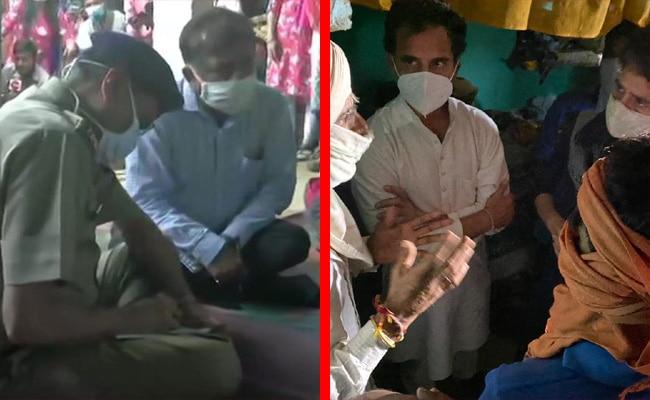 up officers, rahul priyanka gandhi, victim family