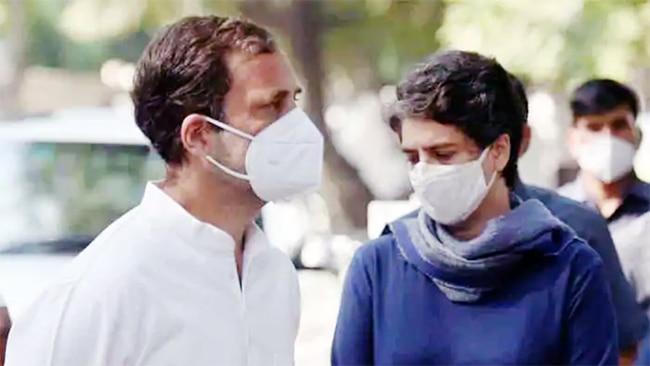 Rahul Gandhi Priyanka Gandhi at Hathras case