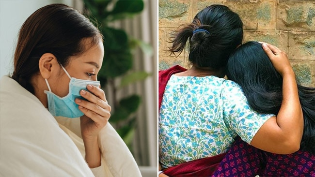 Isolation, corona positive woman, woman hugs daughter in law