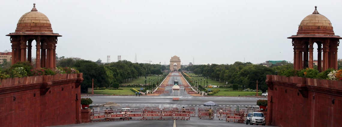 Rajpath leading to India Gate during a government imposed lockdown as a preventive measure against the COVID 19