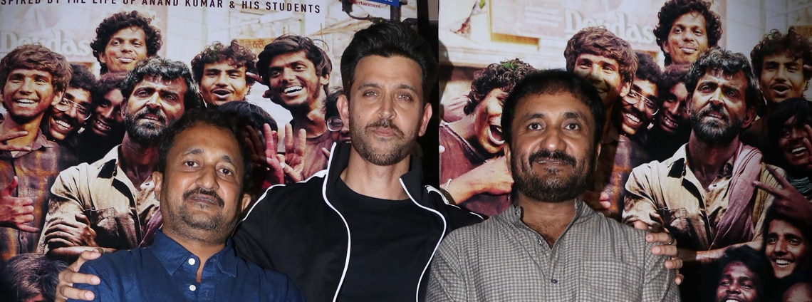 Hrithik Roshan with Anand Kumar during the screening of his film Super 30