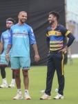 Kolkata  Delhi Capitals Shikhar Dhawan and Manoj Tiwari during a practice session in Kolkata on April 11  2019  Photo  IANS