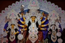 Patna  An idol of Goddess Durga seen during Navratri celebrations at Bengali Akhara  in Patna on April 12  2019  Photo  IANS