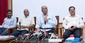 New Delhi  Ministry of Earth Sciences Secretary M Rajeevan and Indian Meteorological Department  IMD  DG KJ Ramesh during a press conference on the  1st stage Long Range Forecast  LRF  for Southwest Monsoon rainfall for 2019   in New Delhi on Apri