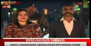 Attari  35 year old IAF Wing Commander Abhinandan Varthaman  who was handed over to Indian High Commission officials at Pakistan s Wagah border  waits for paper works to be completed before entering into Attari  Punjab on March 1  2019  Screen Grab