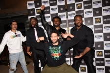 Mumbai  Actors Siddhant Chaturvedi and Vijay Verma with World Wrestling Entertainment  WWE  wrestlers Xavier Woods  Big E  Kofi Kingston  who are in India on a three day tour  during a programme in Mumbai  on March 4  2019  Photo  IANS
