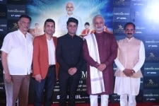Mumbai  Producer Suresh Oberoi  Sandeep Singh and director Omung Kumar with actor Vivek Oberoi dressed up as Prime Minister Narendra Modi at the trailer launch of their upcoming film  PM Narendra Modi  in Mumbai  on March 20  2019  Photo  IANS