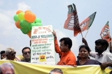 Kolkata  BJP workers participate in a campaign ahead of Prime Minister and BJP leader Narendra Modis election rally  at Brigade Parade ground in Kolkata on March 29  2019  Photo  Kuntal Chakrabarty IANS