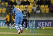 Wellington  New Zealand   Indias Shikhar Dhawan gets dismissed during the first T20I match between India and New Zealand at Westpac Stadium in Wellington  New Zealand on Feb 6  2019  Photo  Surjeet Yadav IANS