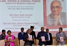 New Delhi  President Ram Nath Kovind  Chief Justice of India Ranjan Gogoi and Attorney General of India K K Venugopal at the launch of the book  Law  Justice and Judicial Power  Justice PN Bhagwatis Approach  in New Delhi  on Feb 8  2019  Photo