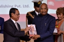 New Delhi  President Ram Nath Kovind and Chief Justice of India Ranjan Gogoi at the launch of the book  Law  Justice and Judicial Power  Justice PN Bhagwatis Approach  in New Delhi  on Feb 8  2019  Photo  IANS