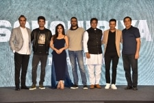 Mumbai  Actors Ranvir Shorey  Sushant Singh Rajput  Bhumi Pednekar  Ashutosh Rana and Manoj Bajpayee  producer Ronnie Screwvala  and director Abhishek Chaubey during a press conference to promote their upcoming film Sonchiriya in Mumbai  on Feb 9