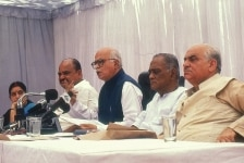 Lal Krishna Advani  Sushma Swaraj  Madan Lal Khurana  Venkaih Naidu in a meeting