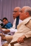 Lal Krishna Advani with Madan Lal Khurana and Sushma Swaraj at a meet