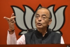Arun Jaitley clciked during a press conference