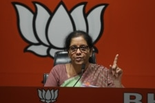 Nirmala Sitharaman addresses a press conference at BJP Office