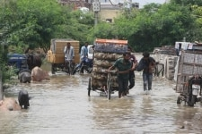 Water gets inside residential areas and markets as a result of water level rise