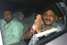 D K Shivakumar leaves after being produced at the Rouse Avenue court