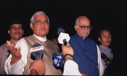 Atal Bihari Vajpayee and Lal Krishna Advani speaking to media