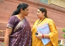Nirmala Sitharaman with Smriti Irani at the Parliament
