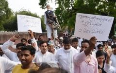 Congress Workers protest against Subramanian Swamy