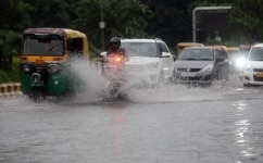 Water logging on roads due to heavy rain