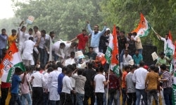 Congress Party s youth supporters protest against Narendra Modi