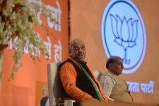 Amit Shah with Rajnath Singh at the launch of 'Bharat Ke Mann Ki Baat' campaign