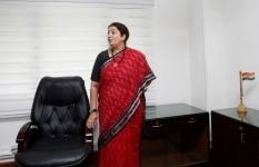 Smriti Irani takes charge in New Delhi