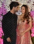 Shahid Kapoor and Mira Rajput pose at Akash Ambani   Shloka Mehta wedding party