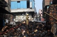 Fire in SP Mukherjee Market in New Delhi