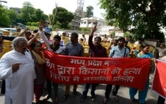 AISF protest against  fire on protesting farmers in MP