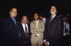 Amar Singh  Ajay Devgn  Amitabh Bachchan and Rajat Sharma at a Party
