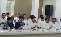 Priyanka Gandhi and Former Member of Parliament  Jyotiraditya Scindia during CWC meeting
