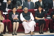 Atal Bihari Vajpayee sitting with foreign delegates