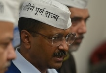 Arvind Kejriwal clicked during a press meet