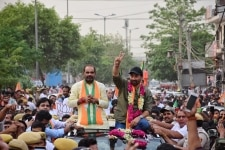 Sunny Deol and Ramesh Bidhuri during a Road Show