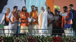 Narendra Modi with others at Political Rally